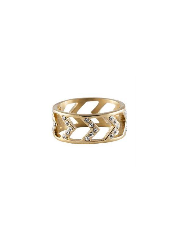 Gold Chevron Ring - Size 6